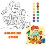 Μωρό στο χρωματίζοντας βιβλίο άμμου Στοκ εικόνες με δικαίωμα ελεύθερης χρήσης