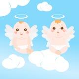 μωρό χαριτωμένα δύο αγγέλο&up Στοκ φωτογραφία με δικαίωμα ελεύθερης χρήσης