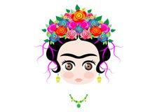 Μωρό Frida Kahlo Emoji με την κορώνα των ζωηρόχρωμων λουλουδιών, που απομονώνεται Στοκ Εικόνες