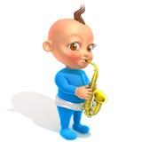 Μωρό Jake που παίζει την τρισδιάστατη απεικόνιση saxophone διανυσματική απεικόνιση