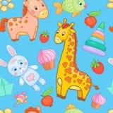 Μωρών διανυσματικό ζωικό υπόβαθρο σχεδίων παιχνιδιών άνευ ραφής απεικόνιση αποθεμάτων