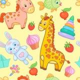 Μωρών διανυσματικό ζωικό υπόβαθρο σχεδίων παιχνιδιών άνευ ραφής ελεύθερη απεικόνιση δικαιώματος