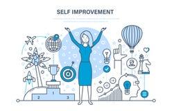 Μόνη έννοια βελτίωσης Μόνη ανάπτυξη, προσωπική αύξηση, συναισθηματική νοημοσύνη Στοκ Εικόνα