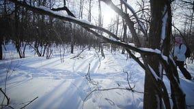 Μόνη γυναίκα Snowshoeing στη φύση φιλμ μικρού μήκους