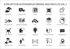 Μόνη οδήγηση και αυτόνομα εικονίδια οχημάτων Στοκ Εικόνες
