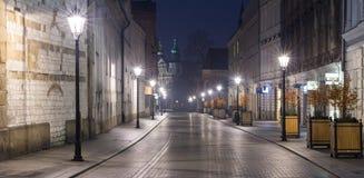 Μόνη οδός στο χρόνο πρωινού λυκόφατος Στοκ Φωτογραφία