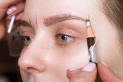 Μόνιμες microblasting φακίδες διάστιξης σε μια γυναίκα σε ένα σαλόνι ομορφιάς στοκ εικόνα με δικαίωμα ελεύθερης χρήσης