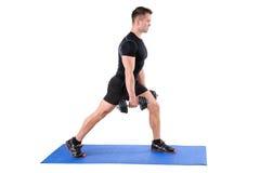 Μόνιμη διάσπαση-στάση οκλαδόν Workout αλτήρων Στοκ Φωτογραφίες