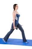 Μόνιμη διάσπαση-στάση οκλαδόν Workout αλτήρων Στοκ Φωτογραφία