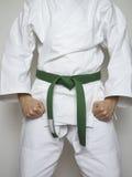 Μόνιμο άσπρο κοστούμι πολεμικών τεχνών πράσινων ζωνών μαχητών Στοκ φωτογραφία με δικαίωμα ελεύθερης χρήσης