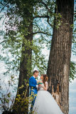 Μόνιμο αγκάλιασμα νυφών και νεόνυμφων στο υπόβαθρο των δέντρων Στοκ Εικόνα