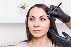 Μόνιμο makeup για τα φρύδια της όμορφης νέας γυναίκας στο σαλόνι ομορφιάς στοκ εικόνα με δικαίωμα ελεύθερης χρήσης
