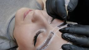 Μόνιμο makeup Μόνιμη διάστιξη των φρυδιών Να ισχύσει Cosmetologist μόνιμο αποτελεί στη δερματοστιξία φρυδιών φρυδιών φιλμ μικρού μήκους