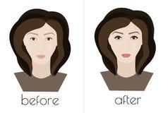 Μόνιμο makeup Το πρόσωπο του κοριτσιού πριν και μετά από την καλλυντική διαδικασία Στοκ Φωτογραφίες
