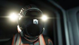 Μόνος αστροναύτης στο διάστημα Sci φουτουριστικός διάδρομος FI άποψη της γης τρισδιάστατη απόδοση διανυσματική απεικόνιση