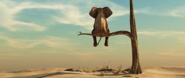 Μόνος ελέφαντας στο δέντρο απεικόνιση αποθεμάτων