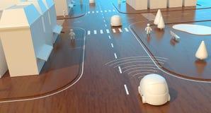 Μόνος-οδηγώντας αυτοκίνητα - τρισδιάστατη ζωτικότητα διανυσματική απεικόνιση