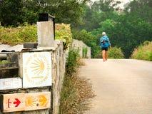 Μόνος προσκυνητής με το σακίδιο πλάτης που περπατά το Camino de Σαντιάγο στο S στοκ εικόνα