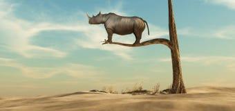 Μόνος ρινόκερος στο δέντρο ελεύθερη απεικόνιση δικαιώματος