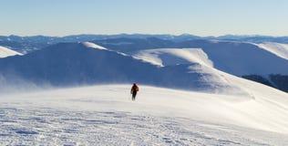 Μόνος τουρίστας που περπατά στη χιονώδη σειρά βουνών Στοκ εικόνες με δικαίωμα ελεύθερης χρήσης