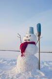 Μόνος χιονάνθρωπος σε ένα χιονώδες πεδίο Στοκ φωτογραφίες με δικαίωμα ελεύθερης χρήσης