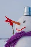 Μόνος χιονάνθρωπος σε ένα χιονώδες πεδίο Στοκ εικόνες με δικαίωμα ελεύθερης χρήσης
