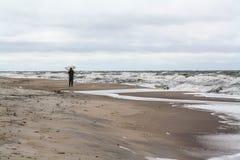 μόνο άτομο παραλιών Amber που συλλέγει, θυελλώδης καιρός Στοκ εικόνες με δικαίωμα ελεύθερης χρήσης
