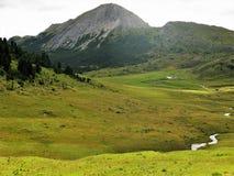 Μόνο αγρόκτημα σε μια πράσινη κοιλάδα στο χαμηλότερο Engadine, Ελβετία Στοκ Εικόνες