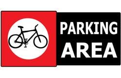Μόνο ετικέτα σημαδιών περιοχής χώρων στάθμευσης ποδηλάτων Στοκ Εικόνες