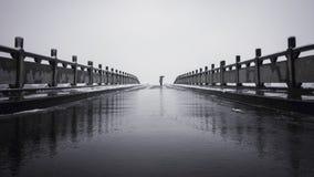 Μόνο στη γέφυρα με το χιόνι Στοκ φωτογραφία με δικαίωμα ελεύθερης χρήσης