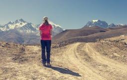 Μόνο trekker σε ένα σταυροδρόμι δύο δρόμων προς τα βουνά Στοκ εικόνες με δικαίωμα ελεύθερης χρήσης