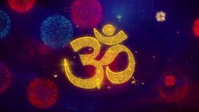 Μόρια σπινθηρίσματος κειμένων χαιρετισμού του OM ή Aum Shiva στα χρωματισμένα πυροτεχνήματα διανυσματική απεικόνιση