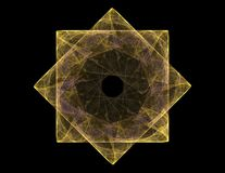 Μόρια των αφηρημένων fractal μορφών σχετικά με το θέμα της πυρηνικής επιστήμης φυσικής και του γραφικού σχεδίου Ιερός φουτουριστι απεικόνιση αποθεμάτων