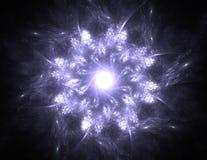 Μόρια των αφηρημένων fractal μορφών σχετικά με το θέμα της πυρηνικής επιστήμης φυσικής και του γραφικού σχεδίου Ιερός φουτουριστι διανυσματική απεικόνιση