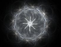 Μόρια των αφηρημένων fractal μορφών σχετικά με το θέμα της πυρηνικής επιστήμης φυσικής και του γραφικού σχεδίου Ιερός φουτουριστι ελεύθερη απεικόνιση δικαιώματος
