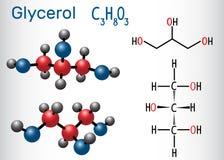 Μόριο γλυκερίνης γλυκερίνης Δομικοί χημικοί τύπος και μ ελεύθερη απεικόνιση δικαιώματος