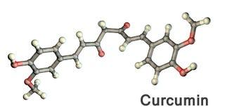 Μόριο κουρκουμίνης, μια yellow-orange χρωστική ουσία που λαμβάνεται από tumeric Στοκ Εικόνα
