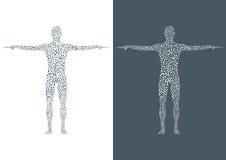 Μόριο δομών του ατόμου Αφηρημένο πρότυπο DNA ανθρώπινων σωμάτων Στοκ Εικόνα