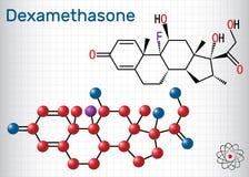 Μόριο Dexamethasone Αυτό το αντιφλεγμονώδες φάρμακο είναι μια corticosteroid ορμόνη glucocorticoid Φύλλο του εγγράφου σε ένα κλου απεικόνιση αποθεμάτων