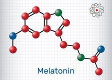 Μόριο Melatonin, ορμόνη ύπνου Τα άτομα αντιπροσωπεύονται ως sphe ελεύθερη απεικόνιση δικαιώματος