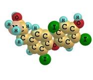 Μόριο Triiodothyronine που απομονώνεται στο λευκό Στοκ εικόνα με δικαίωμα ελεύθερης χρήσης