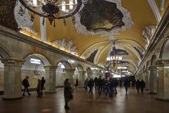 Μόσχα - 10 Ιανουαρίου 2017: Άνθρωποι που περιμένουν το τραίνο στη Μόσχα Στοκ φωτογραφίες με δικαίωμα ελεύθερης χρήσης