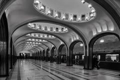 Μόσχα - 10 Ιανουαρίου 2017: Σταθμός μετρό Mayakovskaya στον ομαλό Στοκ Εικόνες