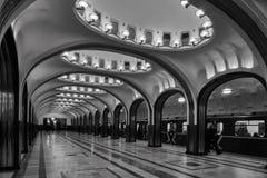 Μόσχα - 10 Ιανουαρίου 2017: Σταθμός μετρό Mayakovskaya στον ομαλό Στοκ Φωτογραφία