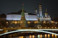 Μόσχα Κρεμλίνο τη νύχτα Στοκ Εικόνα