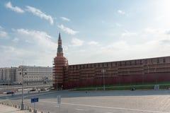 Μόσχα, Ρωσία - 27 Απριλίου 2019: Αναδημιουργία του πύργου και του τοίχου του Κρεμλίνου στοκ εικόνες