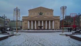 Μόσχα, Ρωσία - 6 Δεκεμβρίου: Άποψη ημέρας του χειμερινού φορητού πυροβολισμού οπερών και μπαλέτου θεάτρων κρατικού ακαδημαϊκού Bo απόθεμα βίντεο