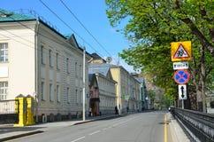 Μόσχα, Ρωσία, 19 Μαΐου, 2017 Η οδός Spartakovskaya, στεγάζει το αριθ. 11, οικοδόμηση Ήταν το σπίτι του εβαγγελικού societ Serepts Στοκ φωτογραφία με δικαίωμα ελεύθερης χρήσης