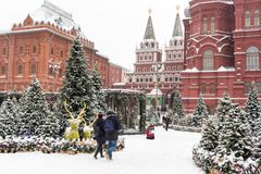 Μόσχα, Ρωσία, πλατεία Manezhnaya ο μπλε παγετός σκοτεινής μέρας κλάδων βρίσκεται χειμώνας δέντρων χιονιού ουρανού Στοκ εικόνα με δικαίωμα ελεύθερης χρήσης