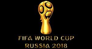 Μόσχα, Ρωσία, στις 14 Ιουνίου 2018, FIFA - χρυσό μεταλλικό λαμπρό κείμενο λέξης με το επίσημο λογότυπο του φλυτζανιού παγκόσμιου  απόθεμα βίντεο